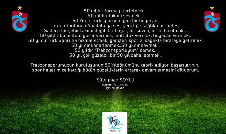"""Soylu: """"50 yıldır Trabzonsporlu'yum demek"""""""
