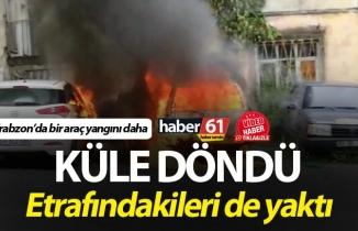 Trabzon'da araç yangını