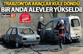 Trabzon'da iki araç yangında küle döndü