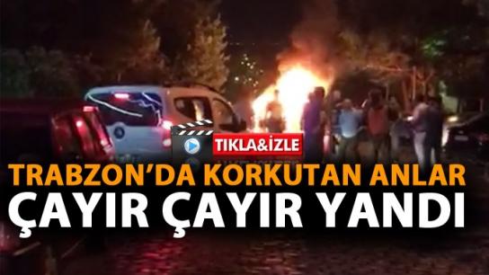Trabzon'da araç cayır cayır yandı