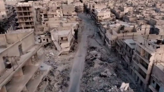 Halep'teki yıkım havadan görüntülendi