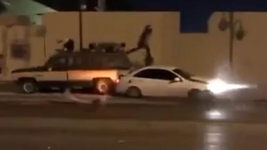 Drift yapan sürücünün otomobili, feci bir kaza yola açtı